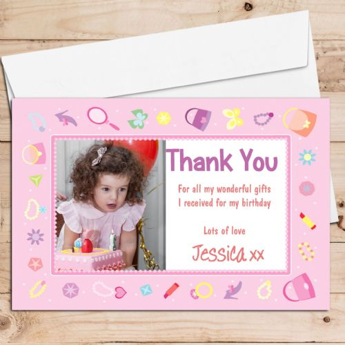 10 Personalised Birthday Thank you PHOTO Cards N71